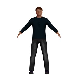 low-poly man 3D model
