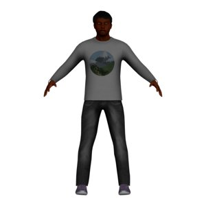 3D adult black male