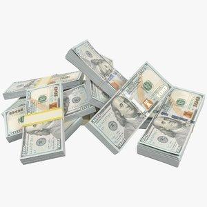 3D model dollars bills pile