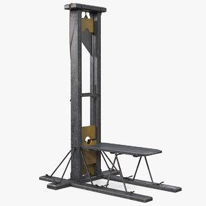 antique 19th century guillotine 3D