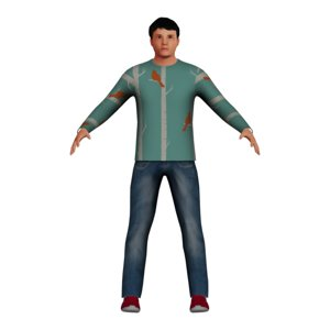 3D low-poly adult asian man model
