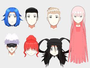 anime hair 3D