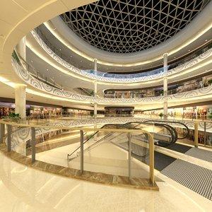 3D model mall pavilion aisle