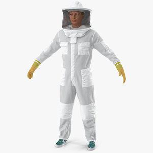 woman beekeeper suit t 3D model