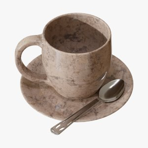 3D marble tea cup model