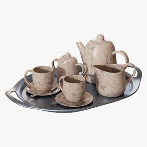 3D marble tea set