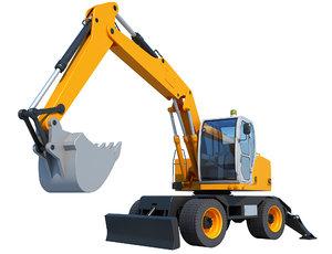 3D excavator industrial construction model
