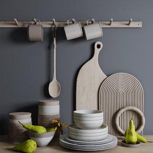 decorative set kitchen 3D model