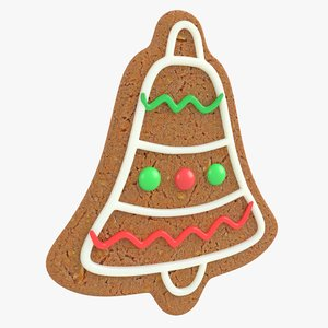 3D gingerbread bell christmas cookie model