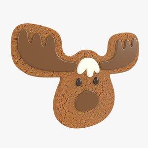 3D gingerbread deer christmas cookie model