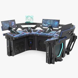 sci fi hologram control panel 3D