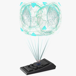 3D model sci fi hologram projector