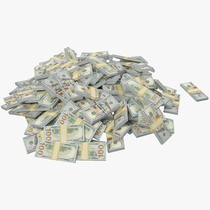 3D model pile dollars bills banknotes