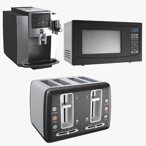 real kitchen appliances microwave 3D model