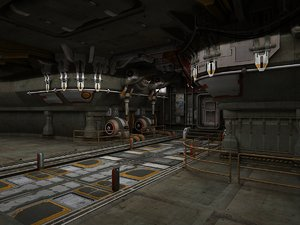 space station passage science fiction 3D model