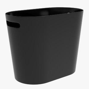 3D black trash bin