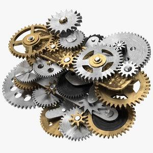 3D clockwork gear mechanism mixed model