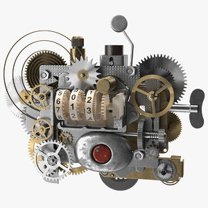 clockwork gear counter mechanism model