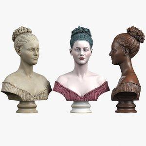 decorative bust lady 3d max