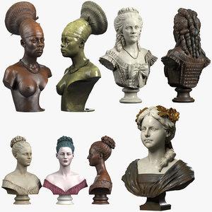 3D bust baroque lady model