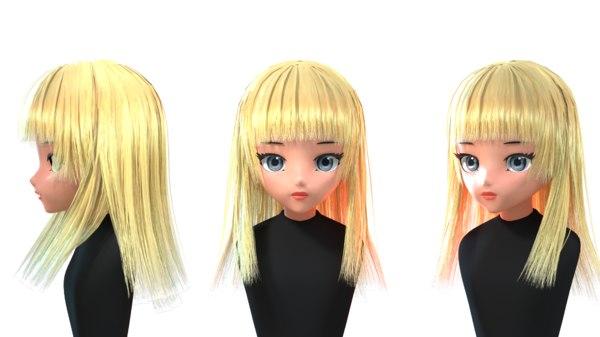 - anime hair games 3D model