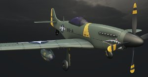 3D model p-51 mustang hand-painted