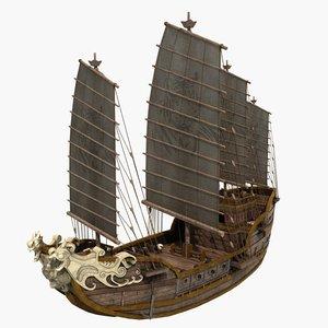 3D ship ancient warship