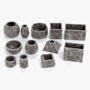 3D concrete pots model