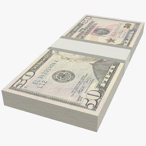 fifty dollars bills 3D model