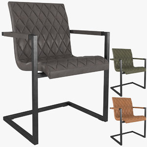 hudson diamond stitched dining chair 3D