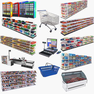 3D supermarket set shopping cart
