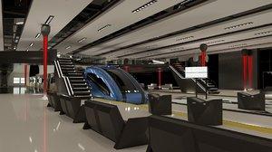 3D futuristic train station