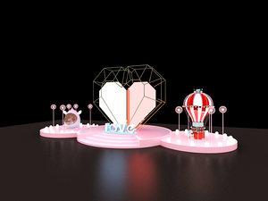 3D model stage confession concert design