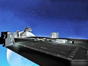 3D space science fiction scene