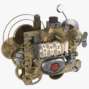 3D clockwork gear counter mechanism