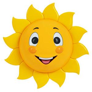 sun character cartoon 3D model
