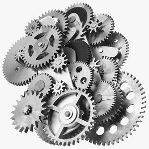 clockwork gear mechanism silver 3D model