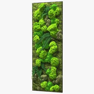 3D green moss wall preserved model