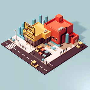 isometric stylized factory 3D model