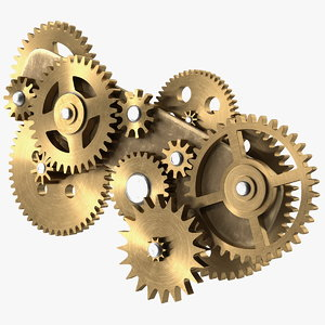 gear mechanism bronze 3D model