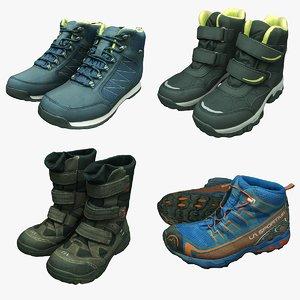 3D winter hiking boots model