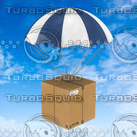 Cardboard Box Flying With Parachute Delivery