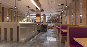 3D fast food restaurant interior model