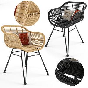 3D costa wicker armchairs model