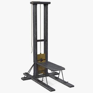 antique french revolution guillotine 3D model