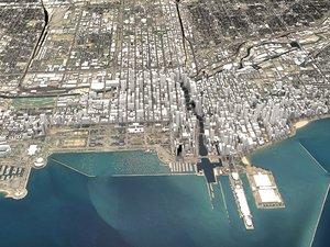 3D model chicago city