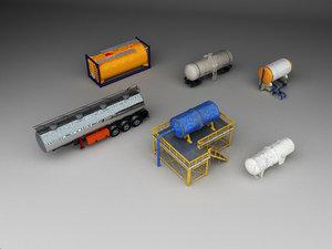 3D oil tanks gas storage model