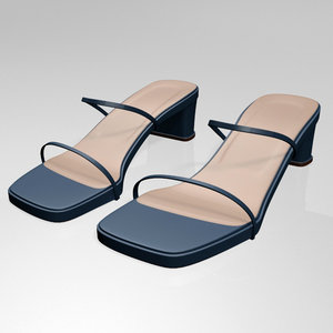 3D stylish low-heel square-toe sandals model