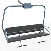 Ski lift chair low poly