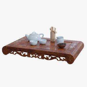 3D tea ceremony table set